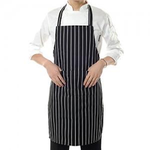 Restaurant-Chef-Kitchen-Cooking-2-Pockets-Work-Uniform-Black-White-Stripe-Apron-B00MVIZXXI